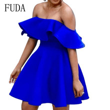 FUDA Women Sexy Off Shoulder Ruffles Backless Dresses Summer Strapless Elegant Night Party Dress Special Occasion Wear