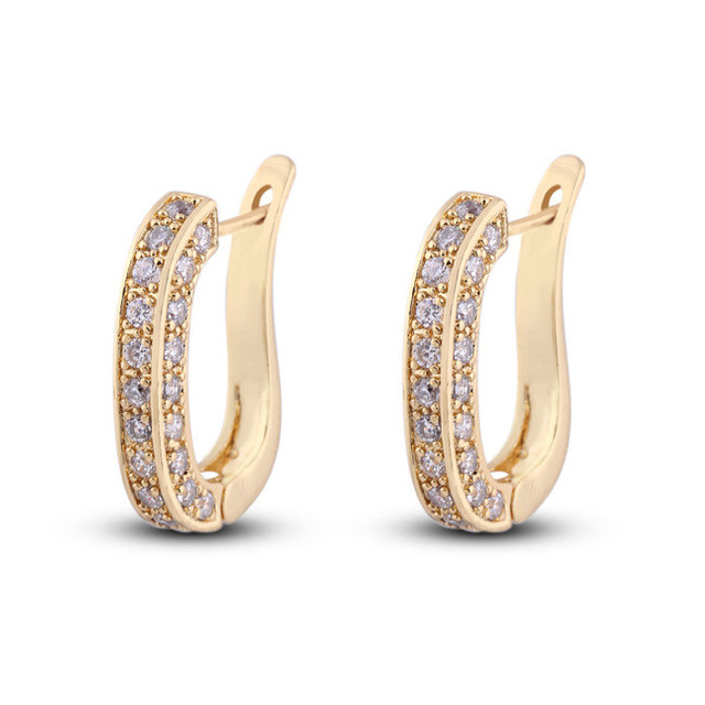 Creative 3 Surface Micro Pave Full CZ Diamond Earrings  Yellow/ White Gold Filled Charm Women High Quality Jewelry