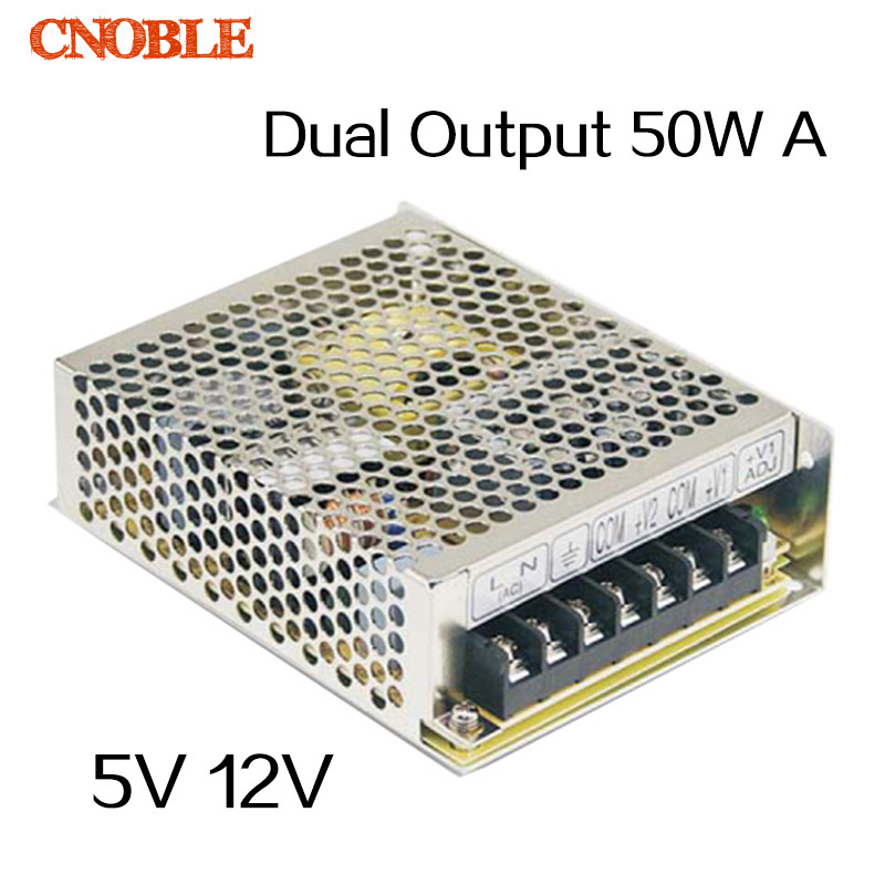 50W Dual output 5V 12V Switching power supply AC to DC SMPS meanwell 12v 350w ul certificated nes series switching power supply 85 264v ac to 12v dc