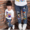 Marca Do Bebê Dos Miúdos Das Meninas Dos Meninos Calças de Brim 2016 Personagem de Desenho Animado Impresso Calças Jeans Casual Primavera e Outono Novo Jeans Para Crianças Pant
