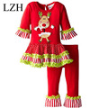 Lzh 2017 nova moda outono meninas conjuntos de roupa de natal renas tutu dress stripes ruffle pants outfit suit roupa das crianças