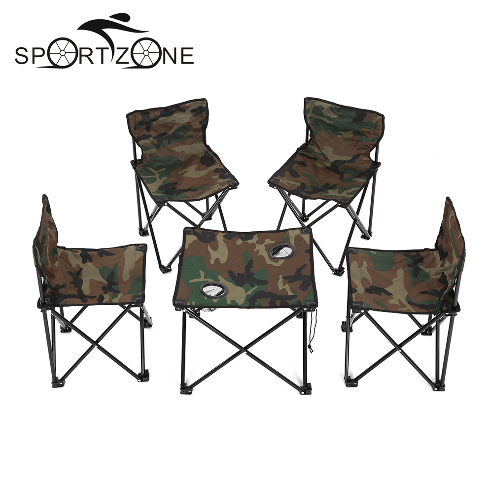 Folding camp table and chairs - Tomshoo Folding Camping Picnic Table Portable Outdoor Garden Party Bbq Dining Coffee Kitchen Table 4 Foldable Chair For Fishing