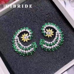 Hibride hot new flower shape women bridal stud earrings white yellow green cubic zircon female earring.jpg 250x250