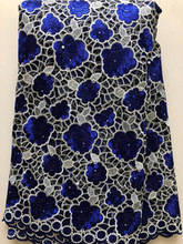 French Net Lace Fabric 2020 Latest African Lace Fabric With Embroidery Mesh Tulle Lace Fabric High quality Nigerian BLUE HLL3340