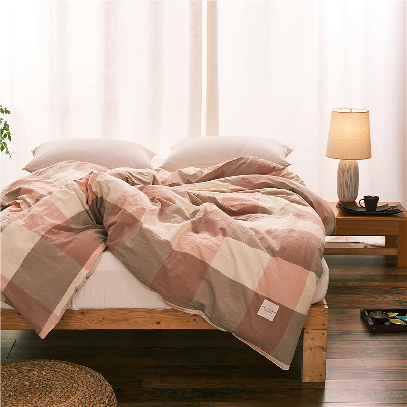 Modern Style Red Brown Plaid Pattern Bedding 1 Piece Duvet