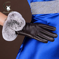 High Quality Winter Women Gloves Fashion Leather Gloves Rabbit Fur Soft Mitten Gloves Female Warm Driving Touch Screen Pink
