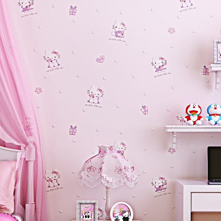 Cartoon 3D Hello Kitty Beige Blue Pink Yellow Children 39 s Bedroom Living Room Home Decor Wallpaper Roll in Wallpapers from Home Improvement