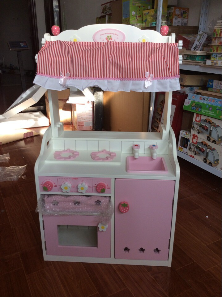 Free Shipping Baby Toys Wooden Kitchen Toys Set Girl's Pink Toddler Kitchen with Accessories Gift Toys mother garden high quality wood toy wind story green tea wooden kitchen toys set