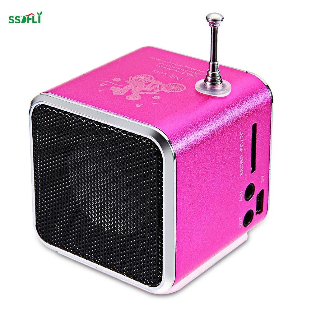 ssdfly TD-V26 Radio FM Mini Speaker SD USB Music Player Digital Radio Stereo Bass Antenna Receiver For Phone Portable MP3/MP4