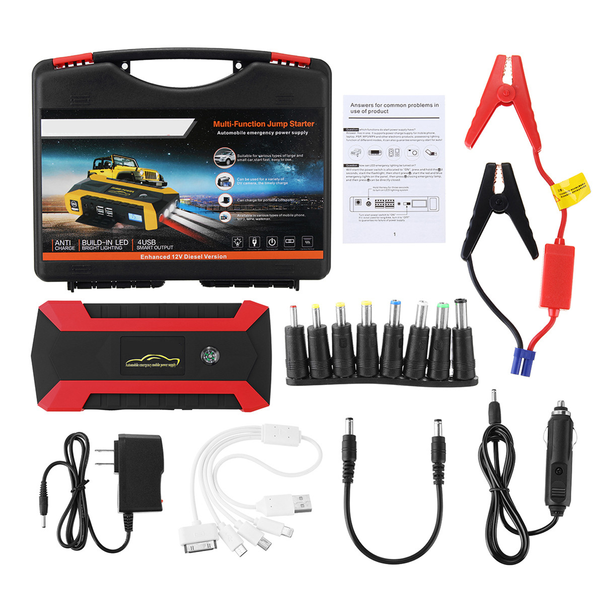High Quality 12000mAh 12V 4 USB Car Jump Starter Pack Booster Charger Battery Power Bank Kit стоимость