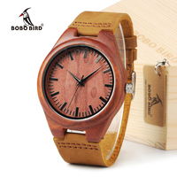 BOBOBIRD BBM027 Men S Red Sandal Wood Watches Men Cool Quartz Wristwatches With Leather Bands In