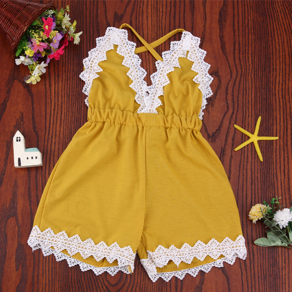Newborn Summer Clothes Adorable Baby Girls Infant Lace Sleeveless   Romper   V-Neck Backless Jumpsuit Clothes Outfit Sunsuit Set