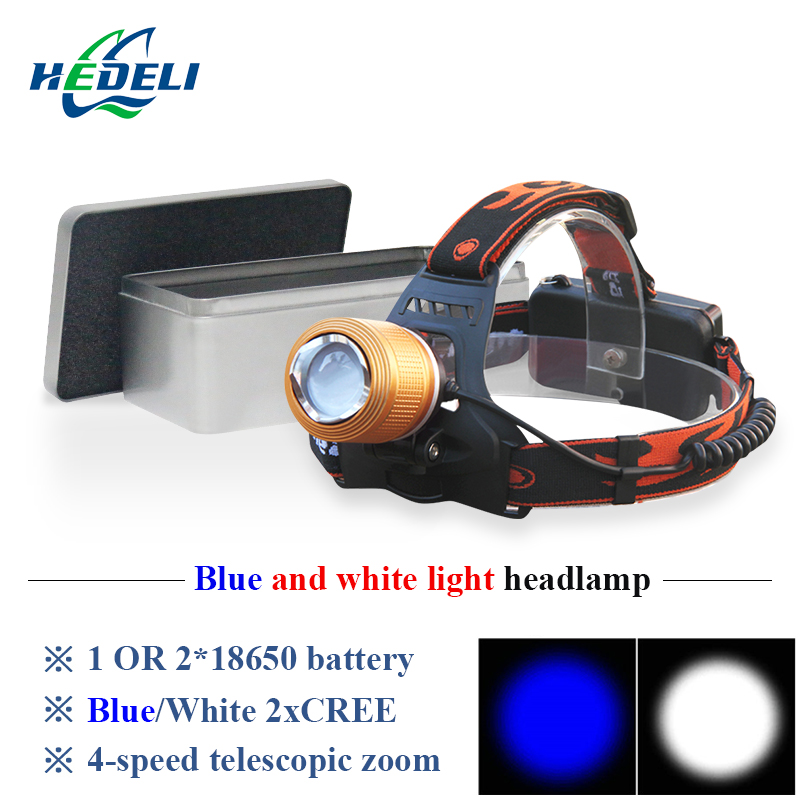 hunting and fishing blu-ray white light 2 cree xpe led headlamp rechargeable headlight 18650 head flashlight torch head light