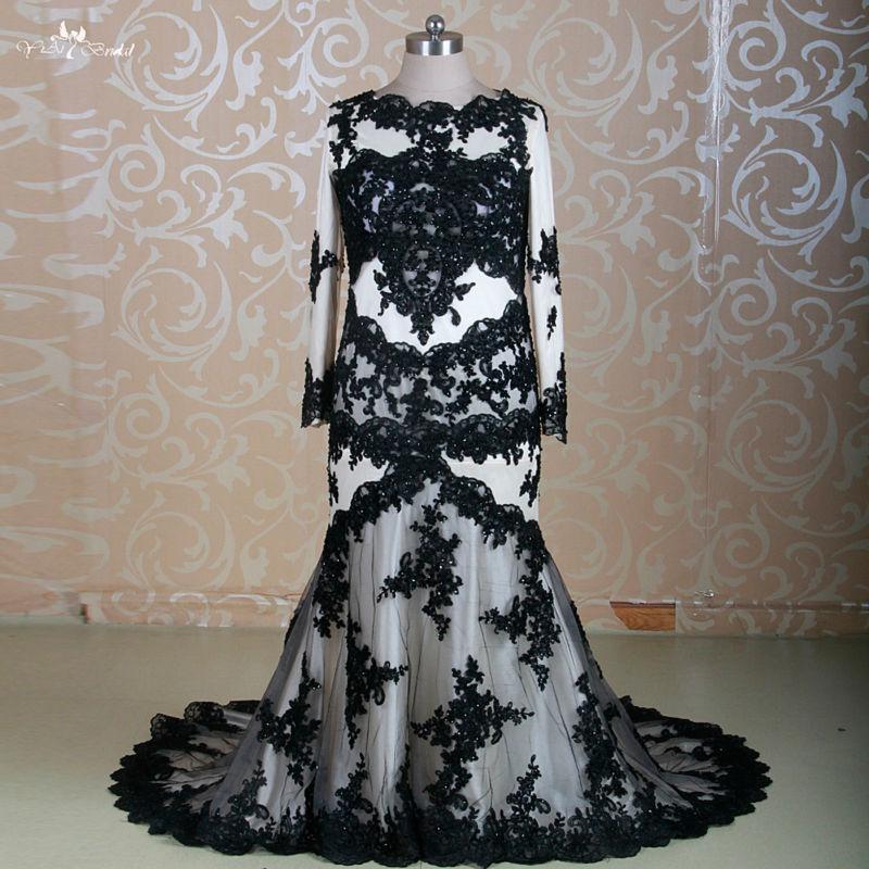 rsw1310 vestido de nnoiva manga longa plus size mermaid lace black wedding dress dubai 2 piece