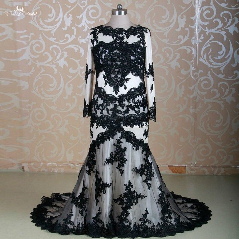 095fbbcad16 Rsw1310 Vestido De nnoiva Manga Longa плюс Размеры Русалка Кружево черный  свадебное платье Дубай 2 шт. Свадебные платья