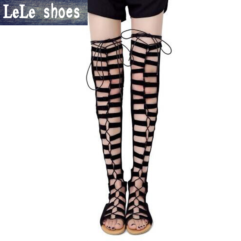 LELE New arrival Sandals Knee High Cool Boots Women Cut-outs plus size 43 flats Heel Sandals Woman Shoes Evening Party Tacones vogue gladiator gold sandals knee high cool boots women cut outs 11cm high heel sandals woman shoes evening party tacones