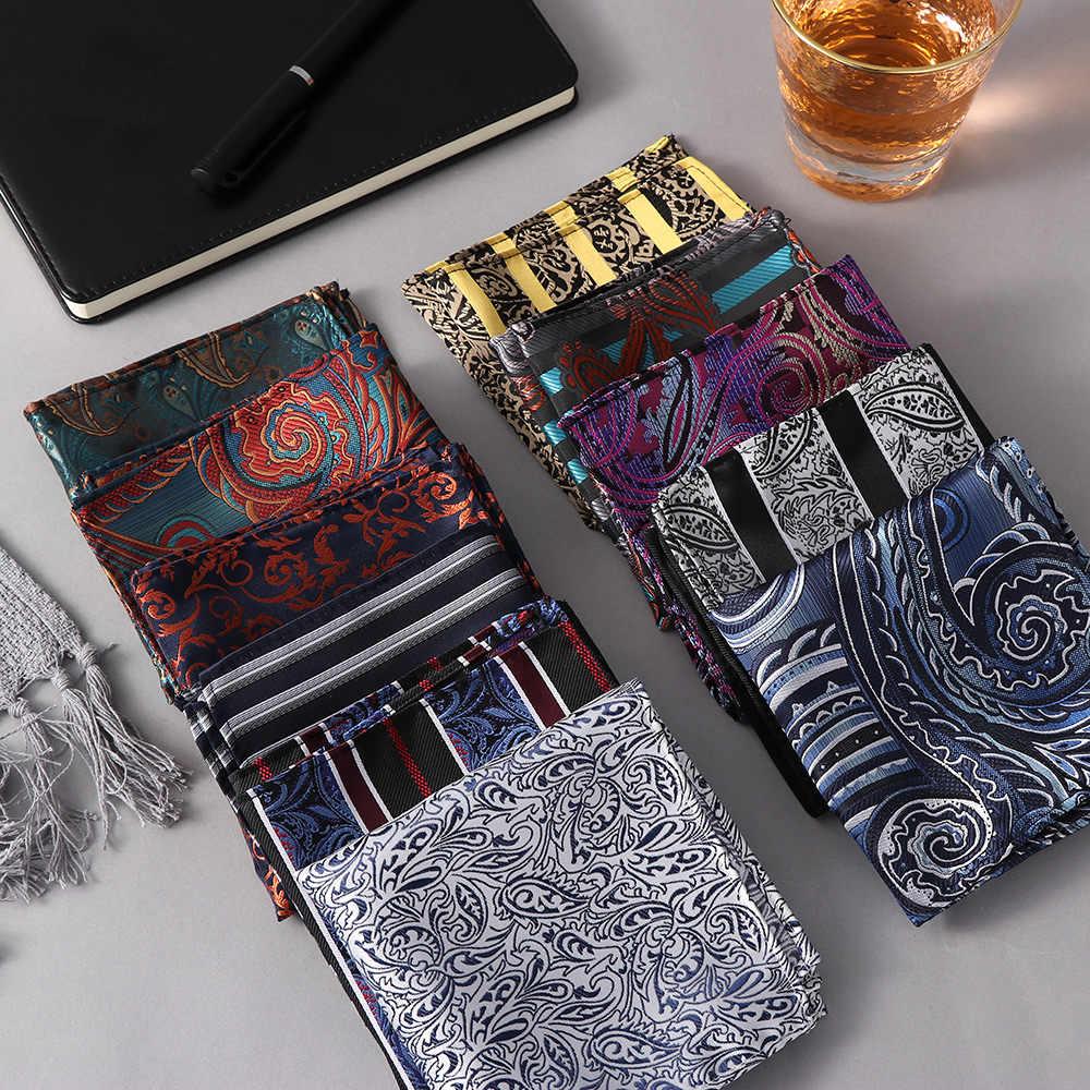 25*25cm luxe hommes 100% soie mouchoir Paisley Floral Jacquard femmes poche carré serviette pour la fête de mariage d'affaires