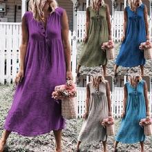 Loose Cotton Linen Dress Women Summer Beach Casual Sleeveless Boho Button High Waist Tunic Solid Long Dresses Plus Size S-4XL
