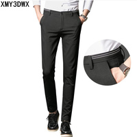 2017 New Spring Autumn Fashion Slim Fit Men S Casual Pants Straight Dress Pants Elastic Business