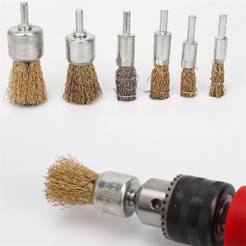 6mm Universal Crimped Brass Coated Steel Wire Brush Head For Drill Grinder Hand Tools Accessories