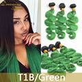 100% Ombre Brazilian Hair Extensions 1B/Green Ombre Hair Weave Body Wave Human Hair 3 Bundles Dark Root Green Hair Weft 3Pcs/Lot