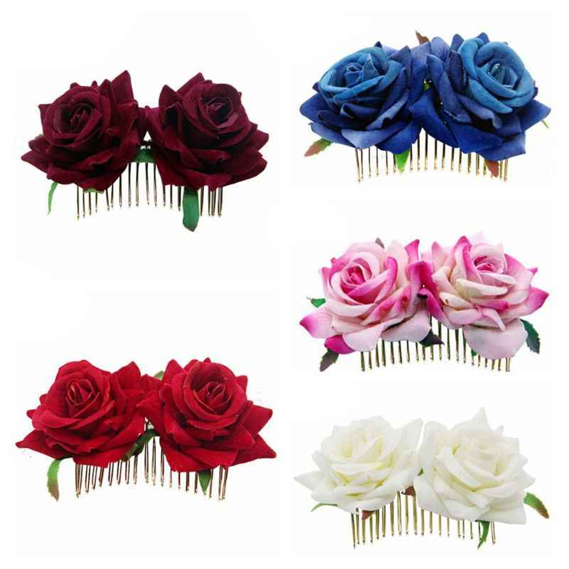 Women Ladies Vintage Two Simulation Velvet Rose Flower Hair Clip Wedding Bridal Flamenco Dancer Metal Hair Comb Party Hairpins