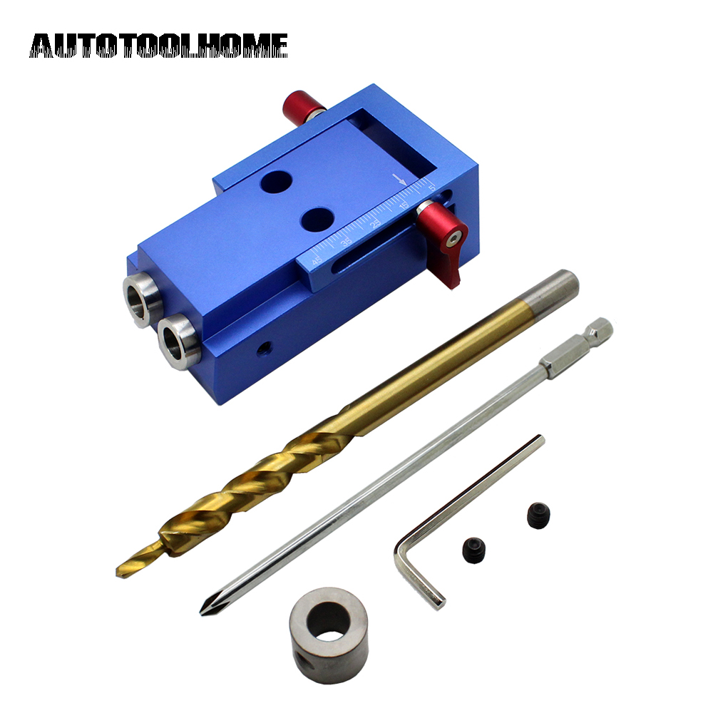 Pocket Hole Jig Kit Woodworking Step Drill Bit Wood Drilling and Stop Collar Pilot Hole Saw For Kreg Jig Manual Master System 1 4 hex twist 9 5mm diameter bits step drill woodworking drills bits set for kreg pocket hole drill jig guide