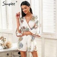 Simplee Vintage V Neck Floral Rompers Women Jumpsuit Flare Sleeve Elastic Waist Playsuit 2018 Summer Jumpsuit