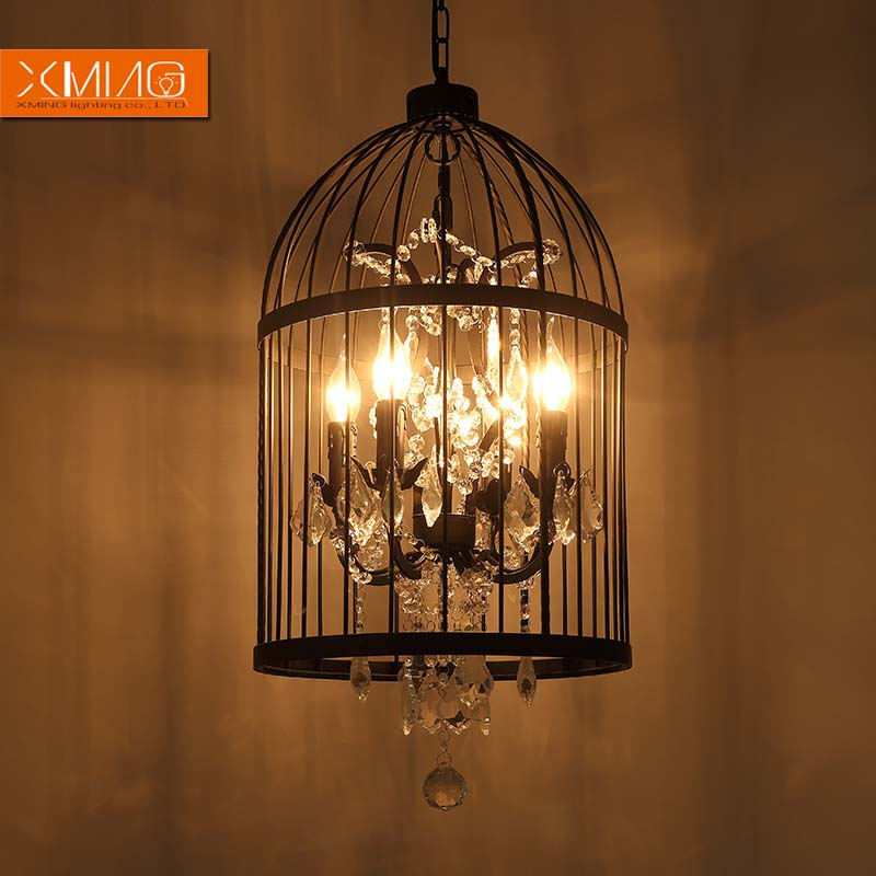 Birdcage vintage pendant lights metal lamp shades crystal deco birdcage vintage pendant lights metal lamp shades crystal deco lights e14 lamp holder for american country dining room style in pendant lights from lights aloadofball Gallery