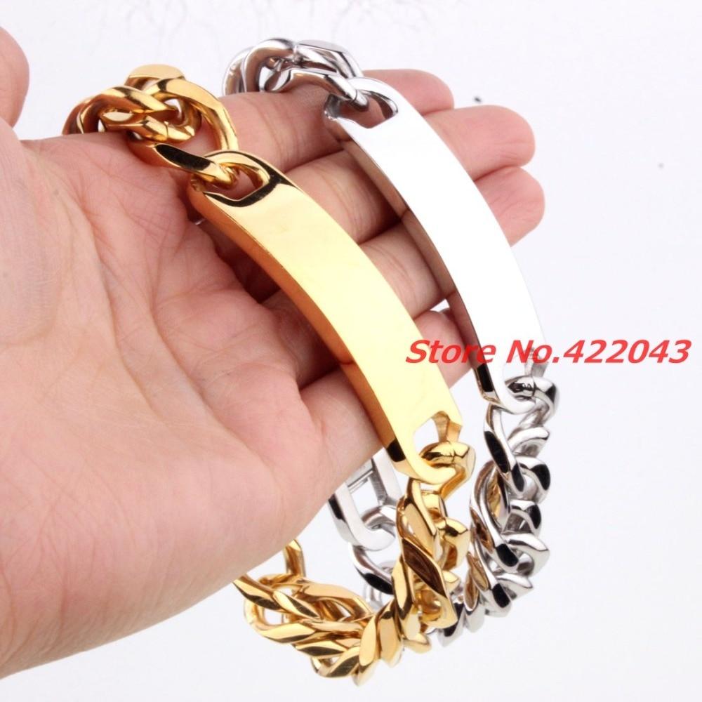 Тяжелая цепочка 9*15 мм, мужские браслеты, браслет из нержавеющей стали для мужчин, кубинская цепочка, модные ювелирные изделия, золотой и сер...