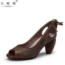 2017 Summer Womens 7CM High Heel Coffee Shoes Retro Fashion Lady Sandals Genuine Leather Fish Mouth Slip On Handmade Women Shoes