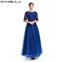 SOCCI Weekend Navy Blue Evening Dress 2017 Tulle Lace Appliques Belt Half Sleeves Formal Wedding Party Dress Prom Gowns Robe de