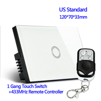 US Standard 433MHz Remote Control Wall Touch Switch Luxury White Crystal Glass Normal 1 Gang 1