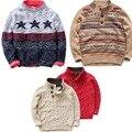 Niños Jersey de Cuello Alto Patchwork cuello alto de Algodón niños niños de punto suéteres Rojos ropa de fitness tire garcon enfant