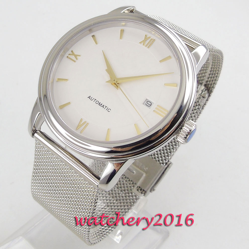 NEW Arrive 40mm Coutent White Dial Sapphire Glass Date Stainless steel Case Miyota Automatic Mechanical Mens WristwatchesNEW Arrive 40mm Coutent White Dial Sapphire Glass Date Stainless steel Case Miyota Automatic Mechanical Mens Wristwatches