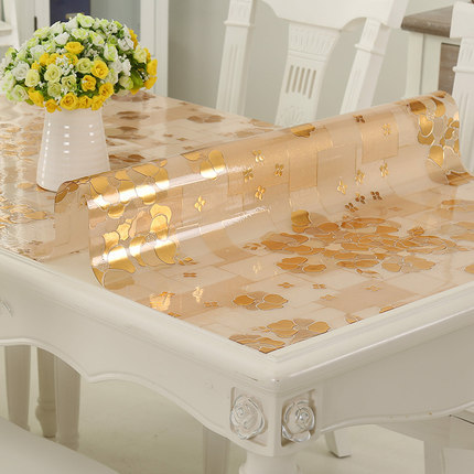 Golden Flower Pattern PVC Tablecloth Soft Glass Waterproof Anti Hot - Rectangle table pad