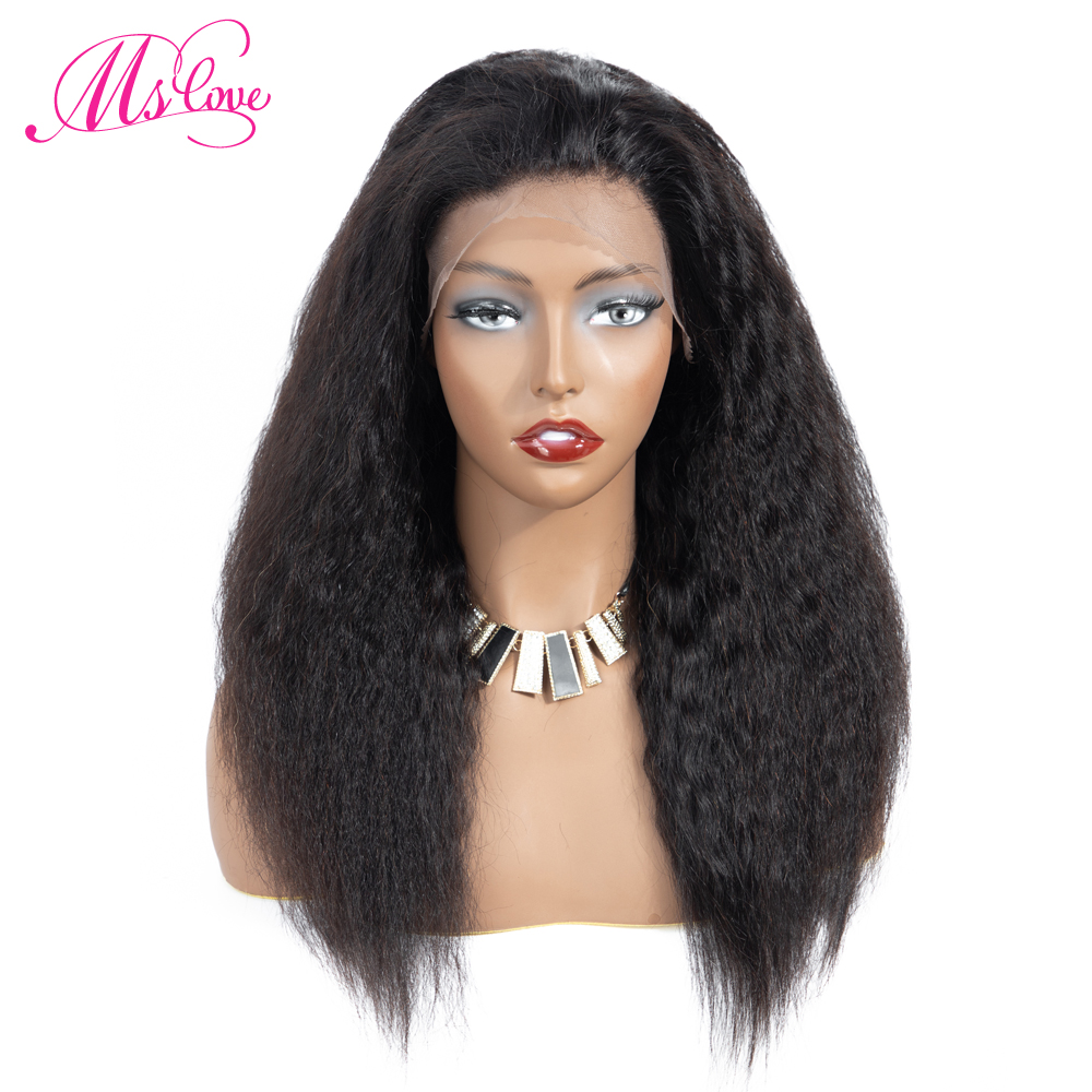 Kinky Straight Lace Front Human Hair Wigs Brazilian 13x4 Lace Frontal Wigs With Baby Hair Pre Plucked Remy 150% ML LOVE