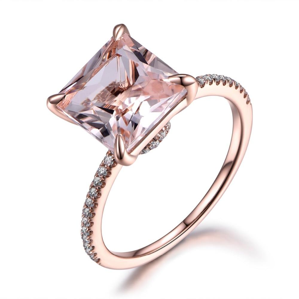 Myray Pink Morganite Engagement Ring,9mm Princess Cut Stone,14k Rose Gold, Diamond Band,bridal Wedding Ring,anniversary Gift