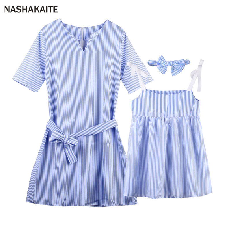 mama and daughter dresses Blue Stripe Mini Dress mother daughter dresses family look Mommy and me clothes mini me NASHAKAITE