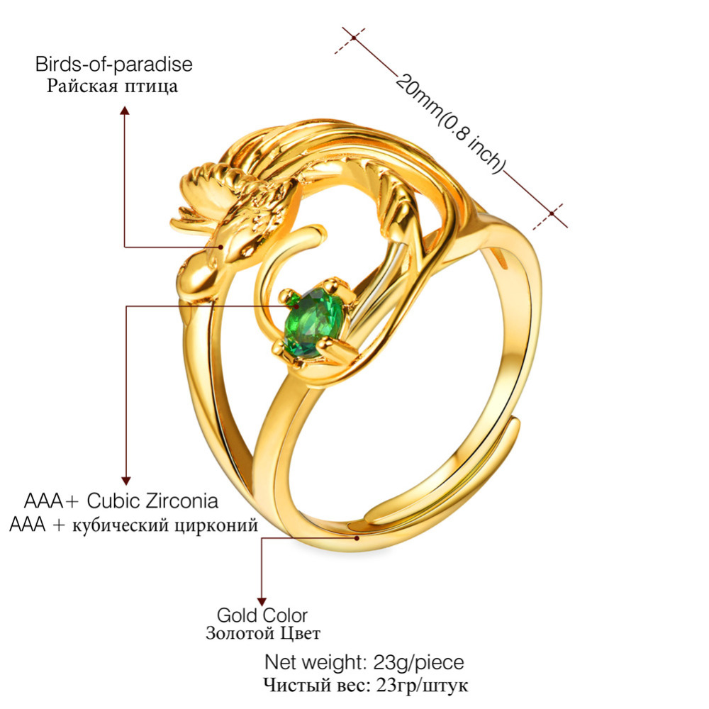 Kpop Phoenix Bird Adjustable Ring Gold Color Green Cubic Zirconia Crystal Engagement Wedding Ring for Women R2235