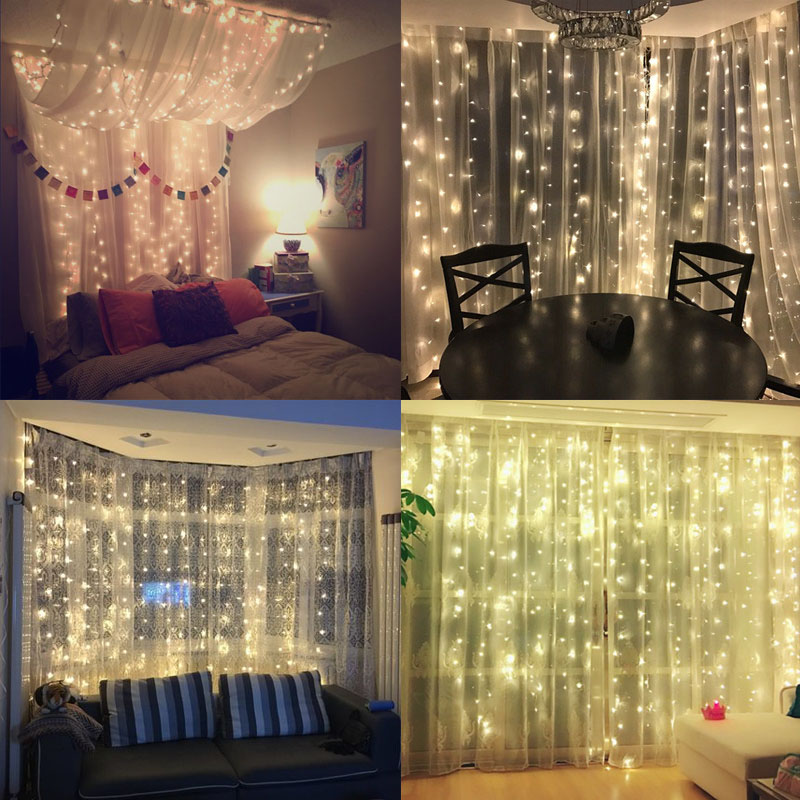 SVELTA 10MX5M 1600Bulbs LED Curtain String Lights LED Festoon Lights For Christmas Xmas Holiday Home Decoration Garland Indoor