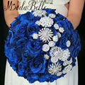 Royal Blue Flowers Beaded Wedding Bouquet Pearls Bling Bridal Brooch Bouquet 2017 Luxury Bruiloft Bloemen Bruidsboeketten