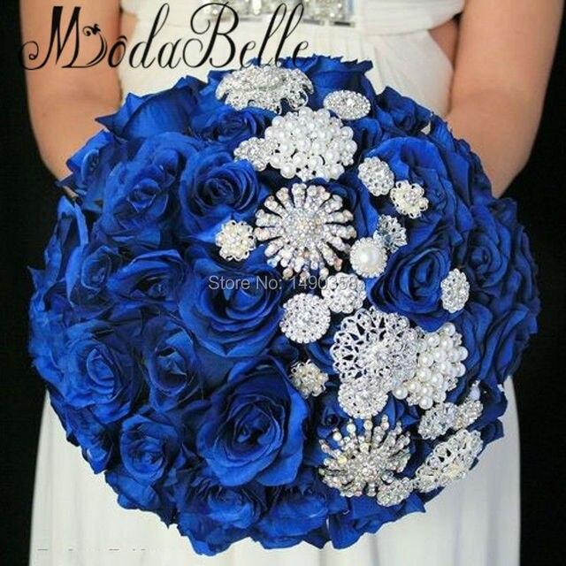 Royal Blue Flowers Beaded Wedding Bouquet Pearls Bling Bridal Brooch Bouquet 2017 Luxury Bruiloft Bloemen Bruidsboeketten