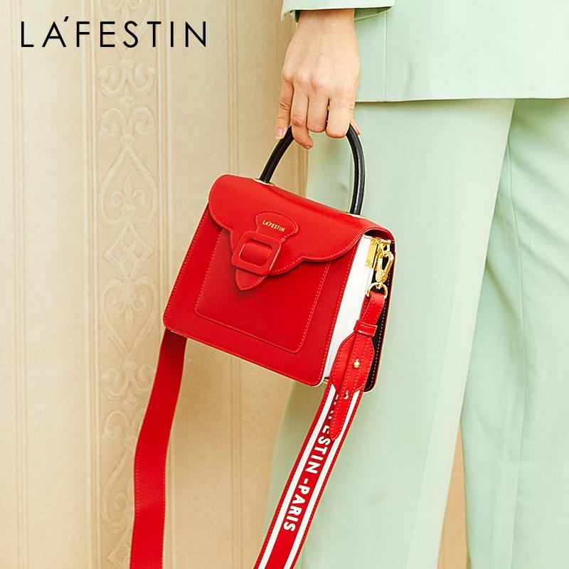 La Festin Bag female 2019 new simple handbag fashion organ bag ladies wide shoulder strap shoulder Messenger bag-in Shoulder Bags from Luggage & Bags    1