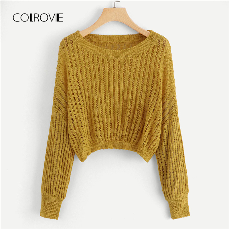 COLROVIE Ginger <font><b>Hollow</b></font> <font><b>Out</b></font> Drop Shoulder <font><b>Ribbed</b></font> Casual Crop Women Sweater 2018 Autumn Stretchy Solid Classic <font><b>Pullovers</b></font> Jumper