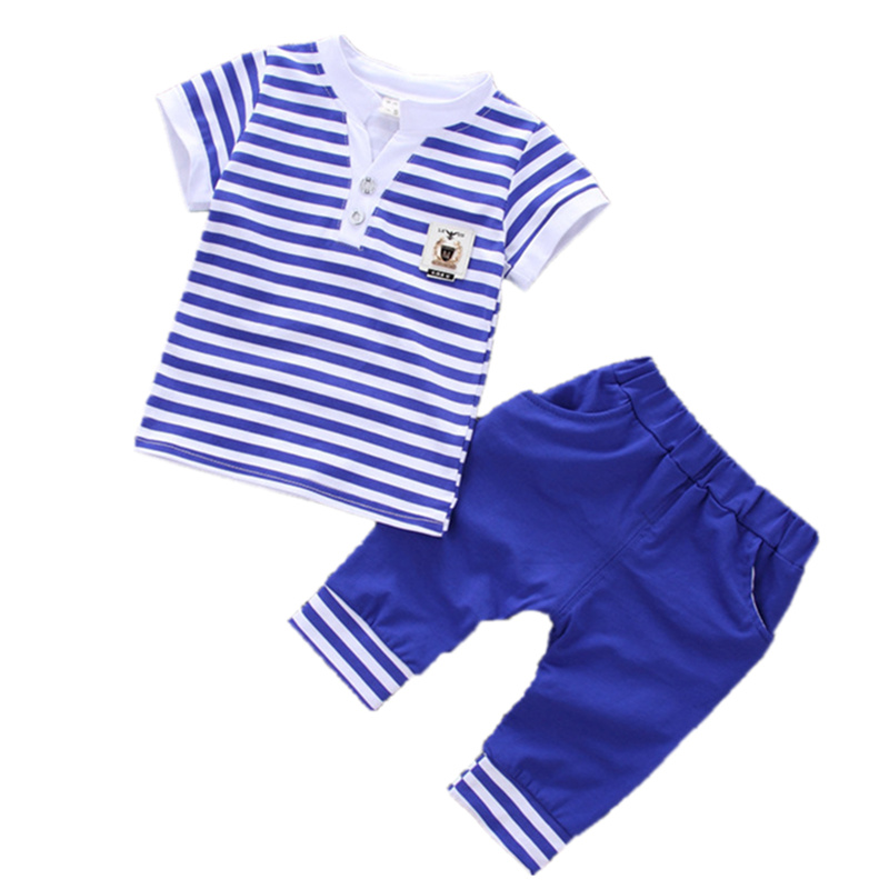 2017 Baby Boys Clothing Set Stripe Cotton Baby Kids Clothes Summer Children Suit Infant T-shirt+Shorts For Boy 2Pcs Toddler Suit 2017 baby boys clothing set gentleman boy clothes toddler summer casual children infant t shirt pants 2pcs boy suit kids clothes