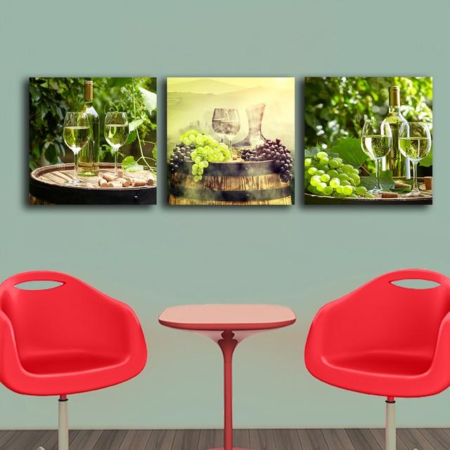 3 Panele Beczka Wina Butelki Obrazy Do Kuchni Owoców Dekoracje