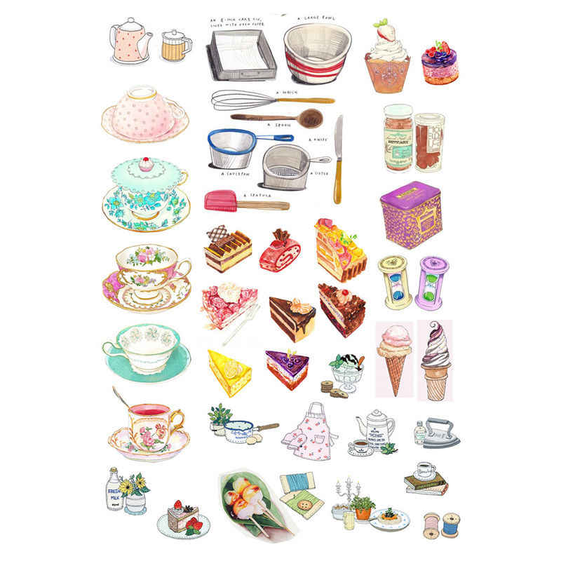 2pcs/lot Kitchen Tea Cafe Decoration DIY Uncut Planner Sticker Pack Post It Notebook Agenda Bullet Journal Stickers Scrapbooking