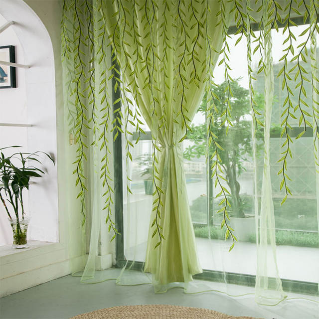1pcs Green Willow Sheer Curtain For Living Room Window Blackout Curtains Home Decor Draperies D