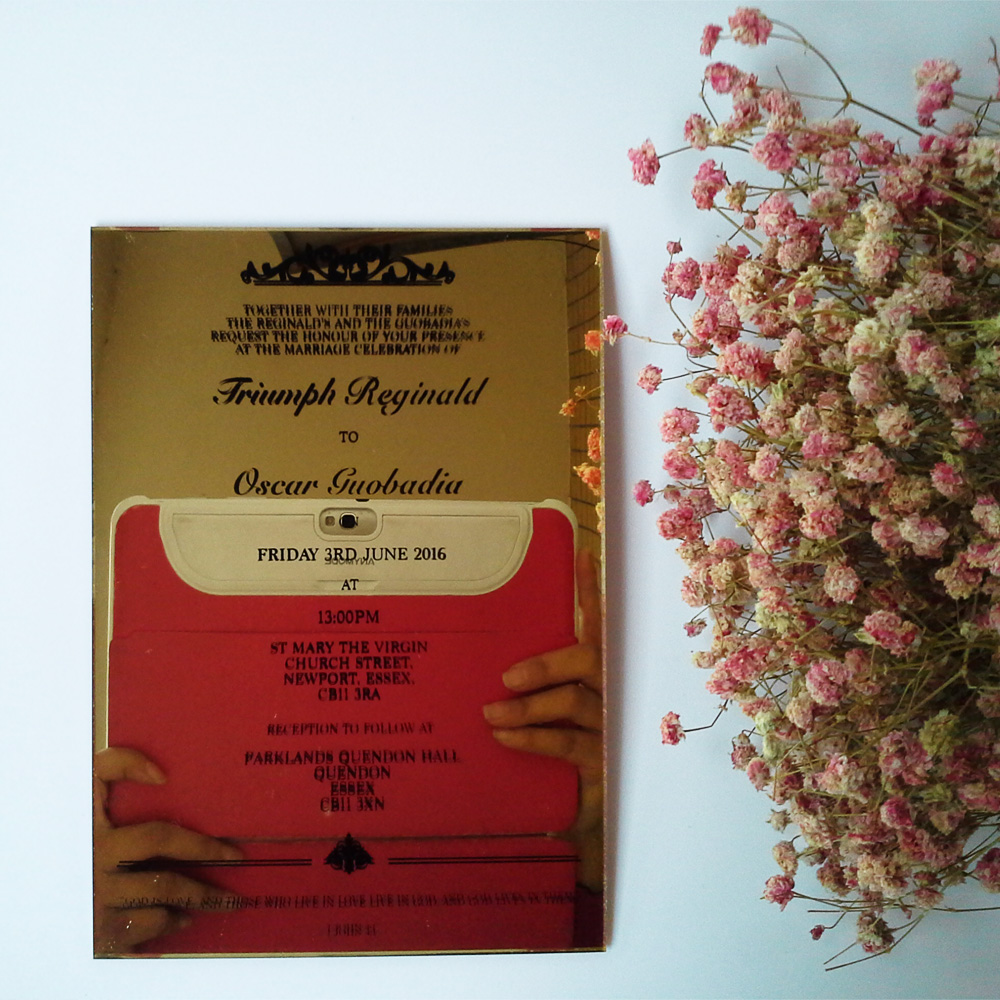 Customized 5*7 inch golden mirror acrylic wedding invitation card ...